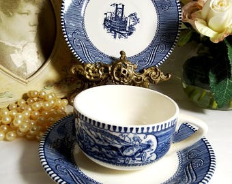 Flat Cup and Saucer in the Currier & Ives-Blue pattern by Royal usa