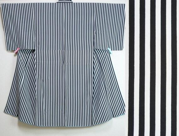Japanese black white striped mens kimono, striped kimono for men, minimalist polyester Vintage kimono, authentic kimono robe, modern kimono