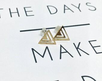 Triangle stud earrings, Gold stud earrings, Triangles earrings, Gold triangles studs, Cut out triangles ring, Boho chic studs, Christmas