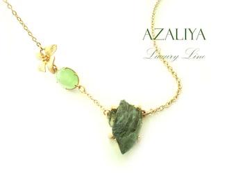 Magnolia Princess Bridal Necklace with Druzy Crystal in Green. April Birthstone. Azaliya Luxury Line. Bridal, Bridesmaids Necklace. Gift.