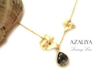 Necklace Magnolia Black Gold. April Birthstone. Azaliya Luxury Line. Bridal, Bridesmaids Necklace. Gift.