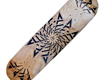 Pyrography geometrical star design skateboard Deck
