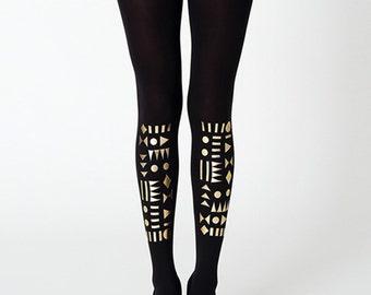 Golden geometric tights