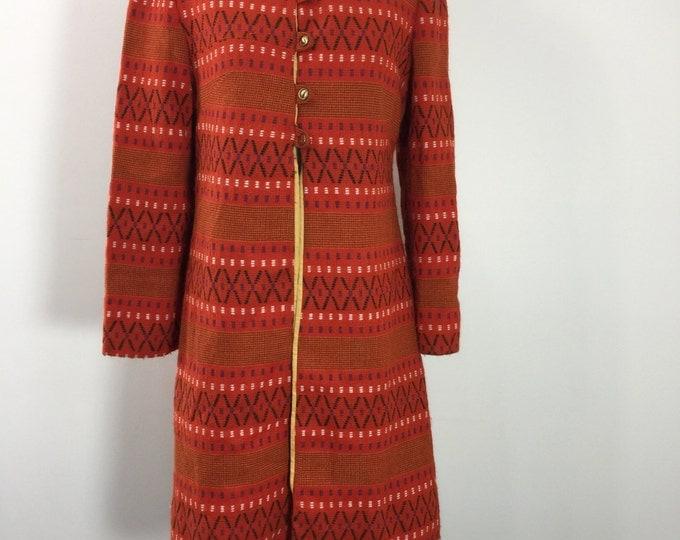Vintage 1960s Mod Wool Coat red wigwam tribal print wool coat jacket Small Medium
