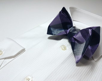 Silk SELF TIED Bow Tie with Purple Navy White Plaid
