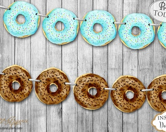 INSTANT DOWNLOAD - Boy Donut Party Banner - Donut Birthday Banner - Donut Party Decoration - Donut Party Garland - Donut Bunting 0233 0234