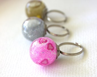Glass dome unicorn ring, glitter snow globe ring, kawaii unicorn ring for her