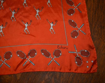 Retro RARE vintage 1970s Echo silk neck scarf kerchief tennis rackets players balls orange