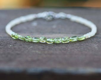 Natural Opal and  Peridot Layering Bracelet in Solid 14K White Gold , August October Birthstones, 14th 16th Anniversary , Healing Gems