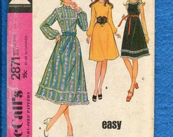 1970's McCall's 2871 Retro Country Chic Jewel Neckline A-Line Dresses Size 14 UNCUT