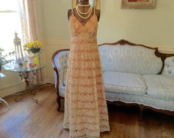 1960s Vintage Evening Gown Peach with Cream Lace Gold Lamae Over Slip by Jack Bryan