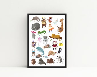 Instant Download Animal Alphabet A-Z Print Poster for Children's Nurserys and Bedrooms A2 Printable