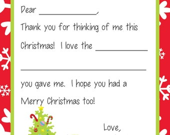 Kids Fill In the Blank Christmas Thank You Cards - Children with Tree & Gifts Theme
