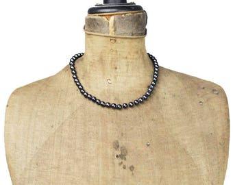 Black Pearl Necklace, Black Pearl Choker Necklace, Black Bead Necklace, Black Necklace, Black Choker