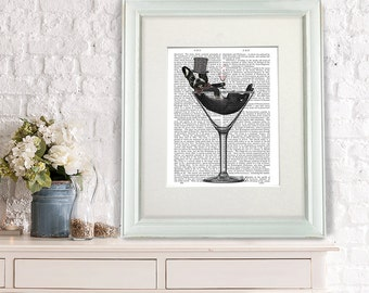 Frenchie gift - French Bulldog in Martini Glass - funny home decor funny fabfunky print wall art uk seller only uk shop dog art print