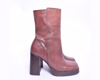 Vintage 90's Brown Chunky Heel Real Leather Zipper Boots