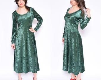 Vintage 90's Dark Green Velvet Dress /  Maxi Velvet Dress / Long Sleeve Velvet Dress - Size Medium