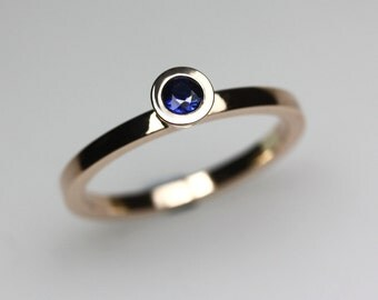 Sapphire & Rose Gold Engagement Ring