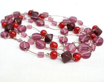 vintage 80s necklace artisan Glass bead necklace extra long necklace dusty rose pink red necklace copper beaded chain necklace Geometric