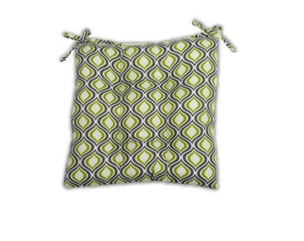 Green, Grey/Gray, and White Geometric -- Tufted Seat Cushion w/Ties for Kitchen Dining Chair ~ Select Size