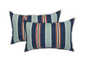 Set of 2 - Indoor / Outdoor - Lumbar / Rectangle Decorative Throw Pillows - Denim, Red, and White Stripe -- Choose Size