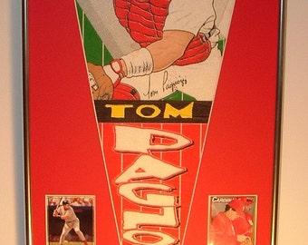 St Louis Cardinals Tom Pagnozzi player pennant & baseball cards...Custom Framed!!!