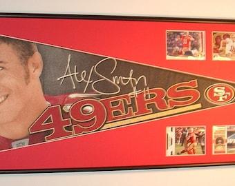 San Francisco 49ers Alex Smith Pennant Framed..with cards...Custom Framed!!!