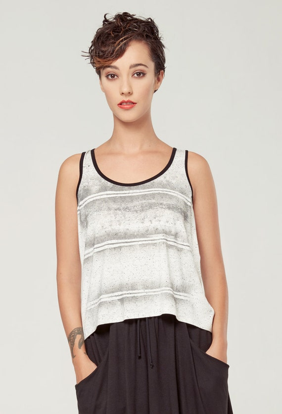 BOURGEON - sleeveless minimalist top, cami, camisole for women - textured white with deconstruted silkscreen look edgy and grunge