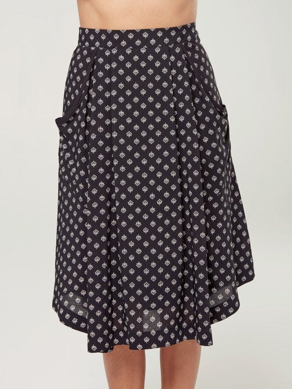 ZENITH - fluid midi skirt with pockets, mid long skirt, mid calf skirt for women - black with lotus flowers print