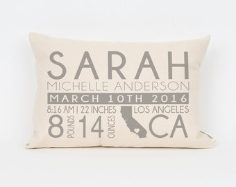 Baby Stats Pillow, Birth Announcement Pillow, Gift for New Mom, Custom Pillow, New Baby Gift, Nursery Pillow, Modern Birth Announcement