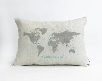 Custom Linen World Map Pillow, Travel Gift, Military Spouse Gift, Home & Living, Home Decor, Throw Pillow, Decorative Pillow, Rustic Decor