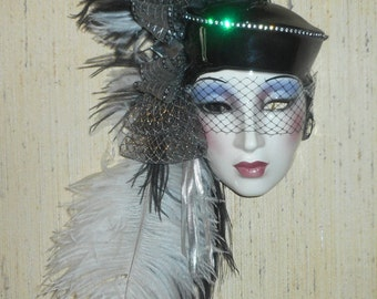 Clay Art of California, Spring Sale - Reg. Price 110. Now 50% Off - Ceramic Wall Mask, Art Deco Decor, Black and White