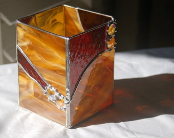 """Stained Glass Candle Holder, """"Sunburst"""", great gift idea Made To Order Choice of Colors Home Decor Valentine Gift Larger Candle Holder"""