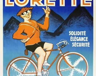 Original Vintage French Poster CYCLES LORETTE 1930