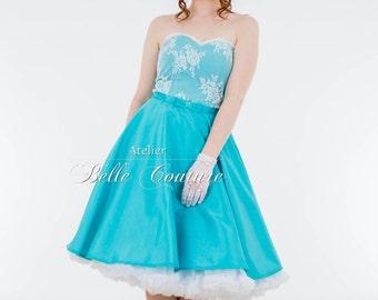 Custom Made & Handmade - 50s petticoat dress turquoise with lace item: Taffeta_Turquoise