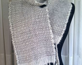 Hand-woven lightweight cream gray alpaca scarf   hand-loomed warm scarf    white & gray woven scarf   checked scarf   luxury alpaca scarf