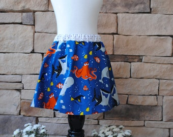 Finding Dory Girl's Skirt Disney Print Lounge Bottoms. Birthday Party Gift. Twirl Skirt, Accent Band, 12mo, 18mo, 2t, 3t, 4t, 5t, 6, 7, 8