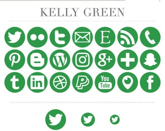 Social Media Icons - Kelly Green - Instant Download - Facebook Periscope Twitter Snapchat Etsy Pinterest Instagram