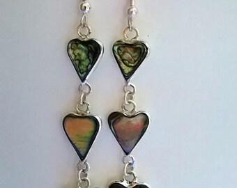 Vintage Earrings, Love Hearts, Romantic Valentines Gift, Long Elegant Earrings, Dainty & Feminine, Iridescent Abalone Shell, 80s