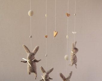 Bunny Mobile, Nursery Mobile, Baby Mobile, Baby Crib Mobile, light grey Bunny Mobile