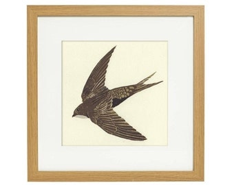 Swift lino print - Original limited edition, 3 layer multicolour, wildlife art print.