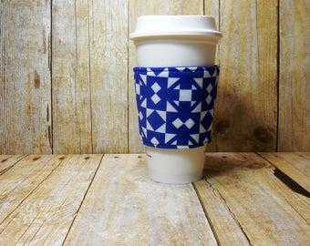 Fabric Coffee Cozy / Royal Blue Squares Coffee Cozy / Blue Coffee Cozy / Coffee Cozy / Tea Cozy