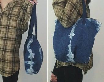 90's Distressed Denim Purse Tiedye Bleached Shoulder Tote Bag - Slouchy Grunge Denim Bag - Large 1990's Remade Vintage Jean Zipper Handbag