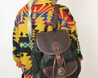 90's Faux Leather Forest Green & Brown Backpack - Green Pleather Mini Bookbag Purse - 1990's Vegan Leather Earth Tones Hunter Green Backpack