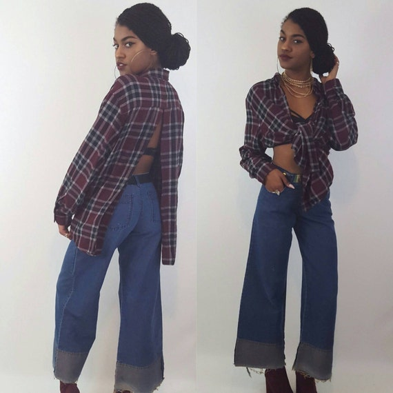 Size Small Medium Vintage 90s High Waisted Bell Bottom Jeans - Dark Navy Blue Wash 1990s Highwaisted Wide Leg Denim - High Rise Flared Jeans