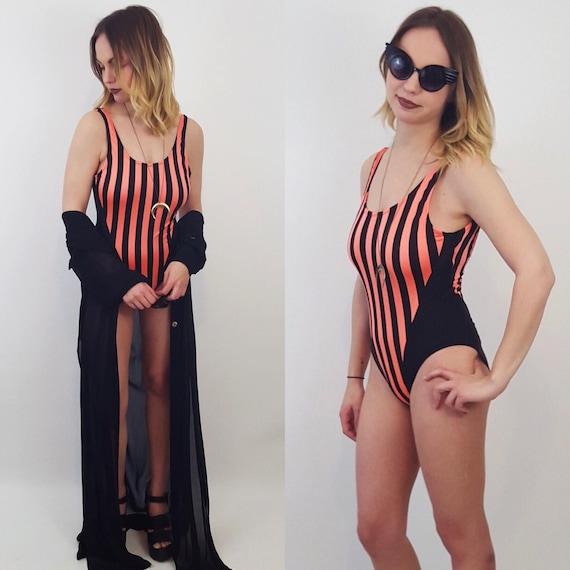 90's Small/Medium Vertical Stripe Swimsuit - Neon Orange Black 90's One Piece - 1990's Striped Swim Bodysuit - Women's Summer Beach Style