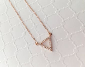 Triangle CZ Pendant Necklace, Rose Gold Triangle CZ Necklace, Modern Layering Necklace