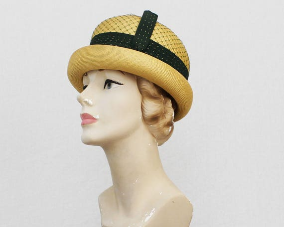 60s Black and Tan Bumper Hat - Vintage 1960s Charmaine Original Women's Straw Hat