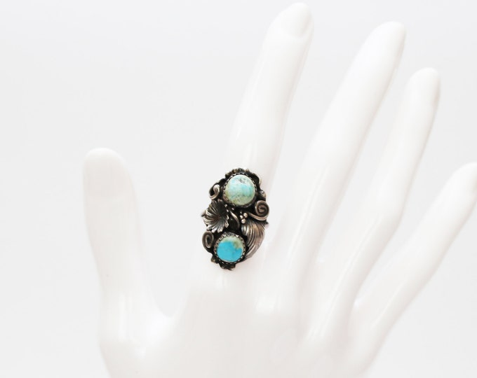 Boho Sterling Silver Turquoise Ring - Size 6 Silver Ring - Vintage 1960s Silver Floral Stone Ring