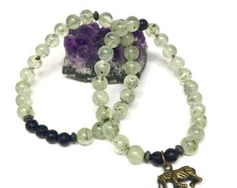 Prehnite and Onyx Stretch Bracelet Set